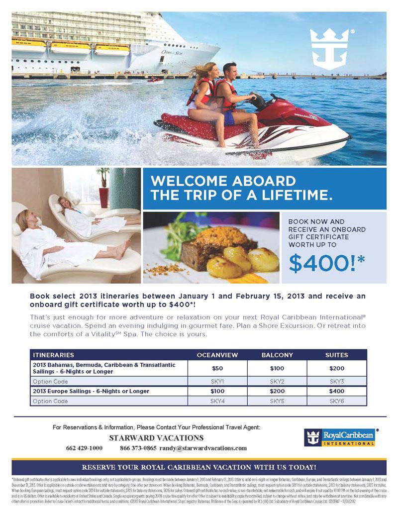 Royal Caribbean On Board Credit Offer Starward Vacations Llc